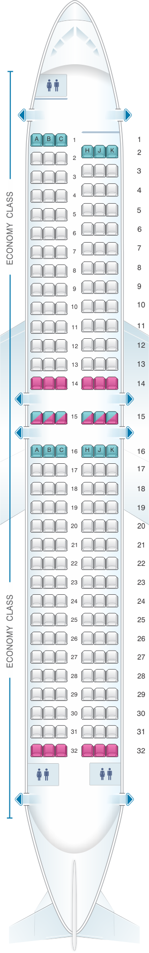 Seat map for Air Transat Boeing 737-800 US and South
