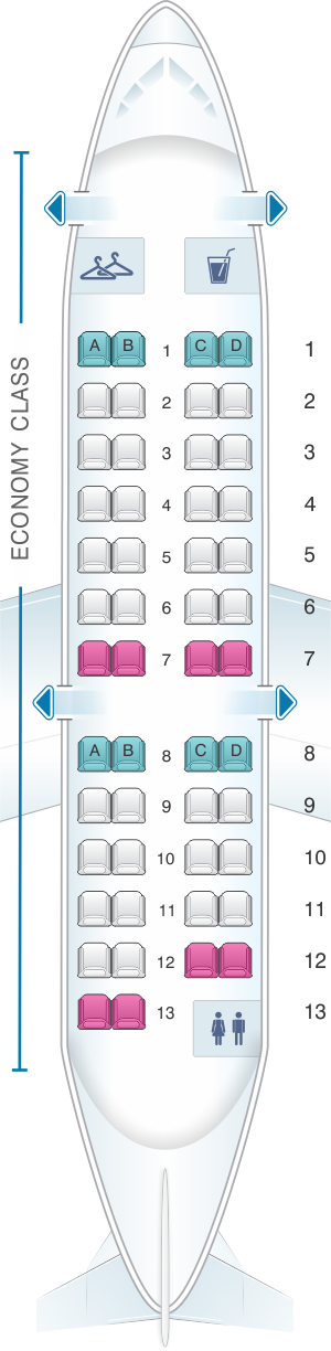 Seat map for American Airlines CRJ 200