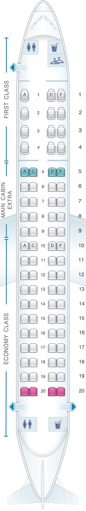 Seat map for American Airlines Embraer ERJ 175 V1