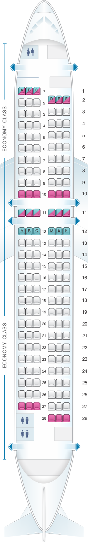 Seat map for Asiana Airlines Airbus A320 200 159PAX
