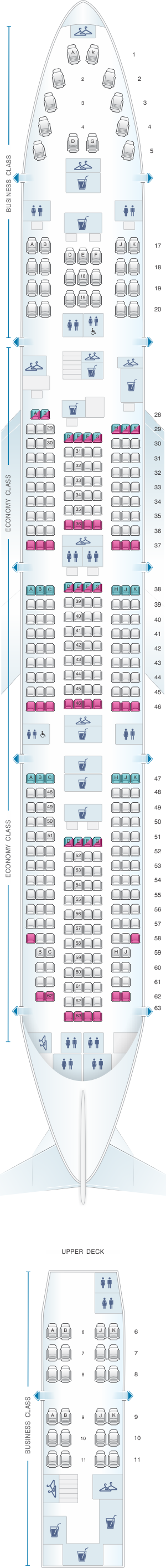 Seat map for China Airlines Boeing B747 400 375PAX