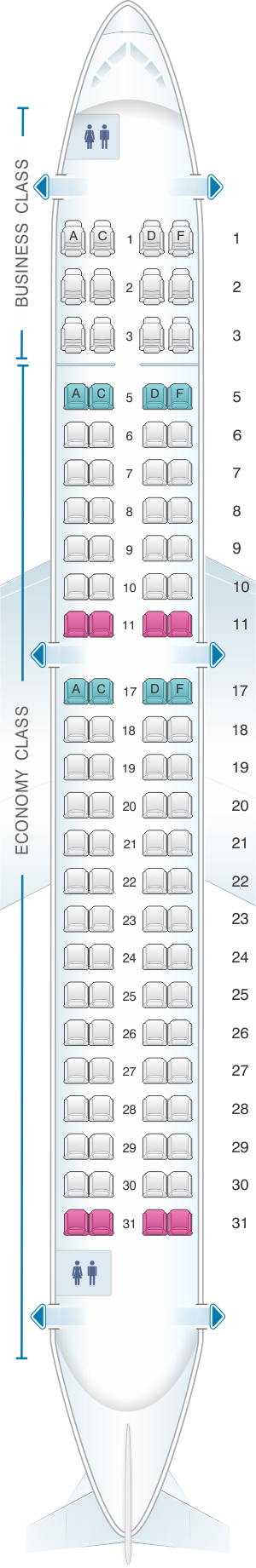 Seat map for Copa Airlines Embraer ERJ 190B