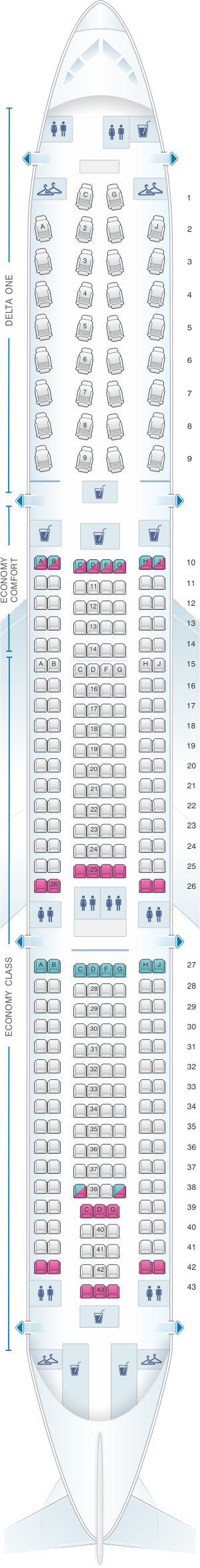Seat map for Delta Air Lines Airbus A330 300 (333)