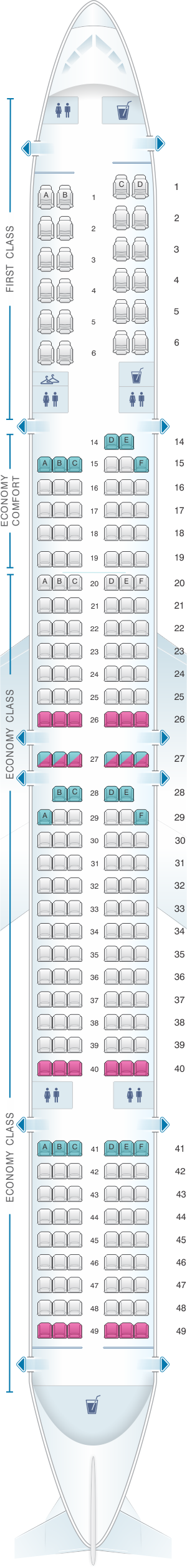 Seat map for Delta Air Lines Boeing B757 300 (75Y)