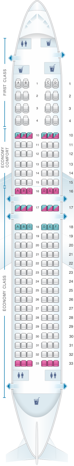 Seat map for Delta Air Lines Boeing B737 800 (738)