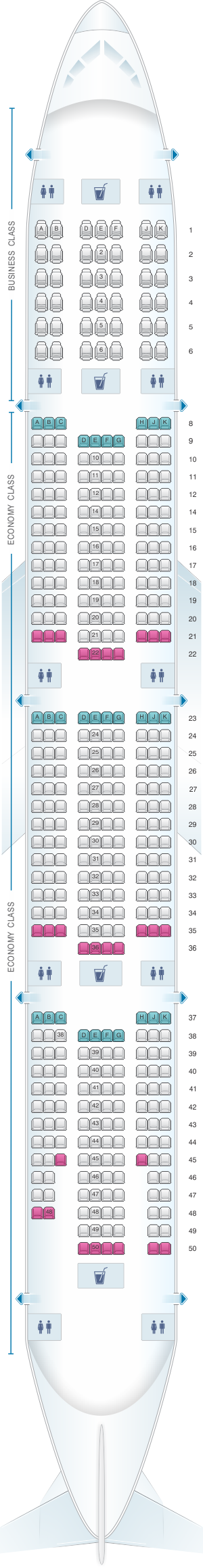 Seat map for Emirates Boeing B777 300ER two class