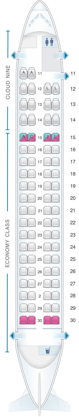 Seat map for Ethiopian Q400 cloude nine