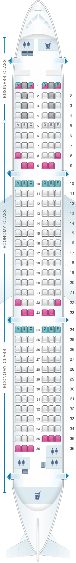 Seat map for Finnair Airbus A321 201PAX
