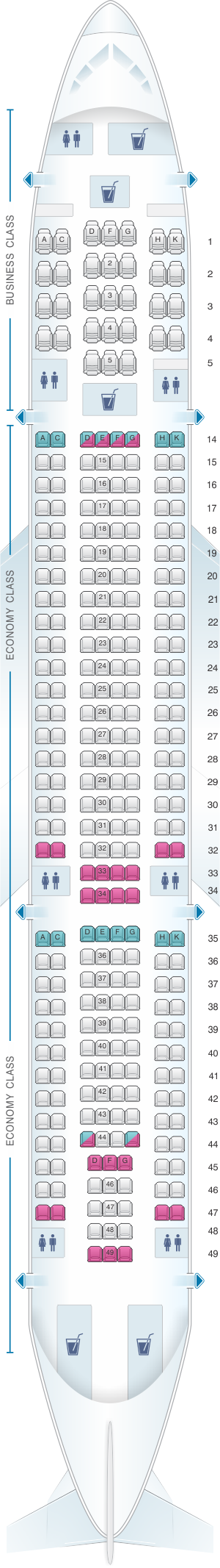 Seat map for Hi Fly Airbus A330 200 298pax