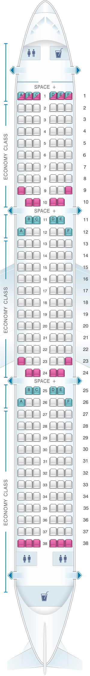 Seat map for LATAM Airlines Brasil Airbus A321