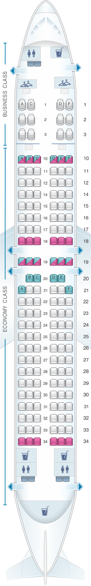 Seat map for Oman Air Boeing B737 800 V3