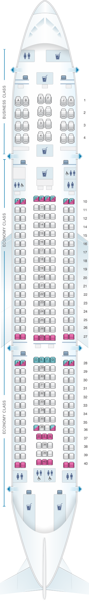 Seat map for Qatar Airways Airbus A330 200 260pax