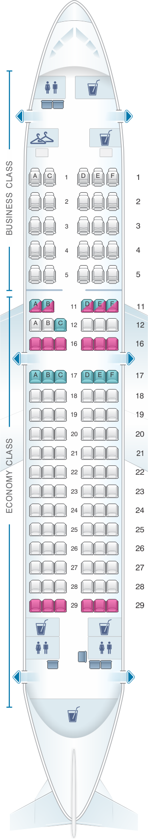 Seat map for South African Airways Airbus A319 100