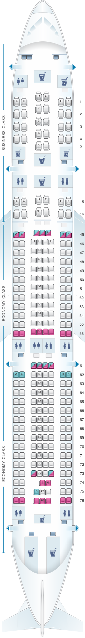 Seat map for South African Airways Airbus A340 300 V1