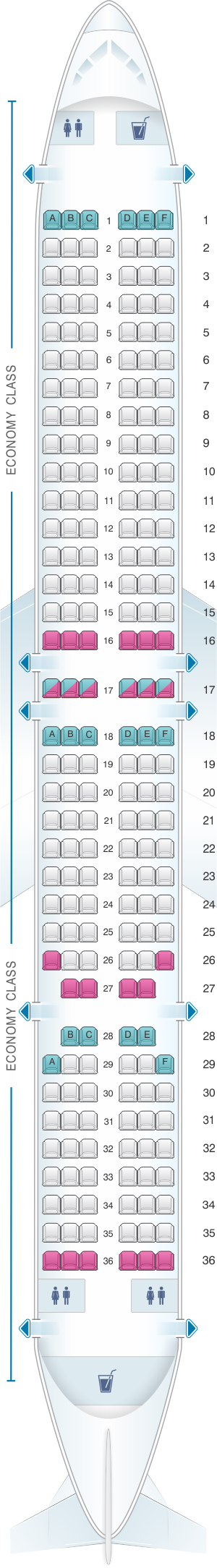 Seat map for SpiceJet Boeing B737 900ER
