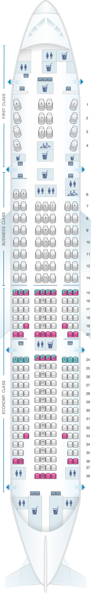 Seat map for TAAG Angola Airlines Boeing B777 200ER