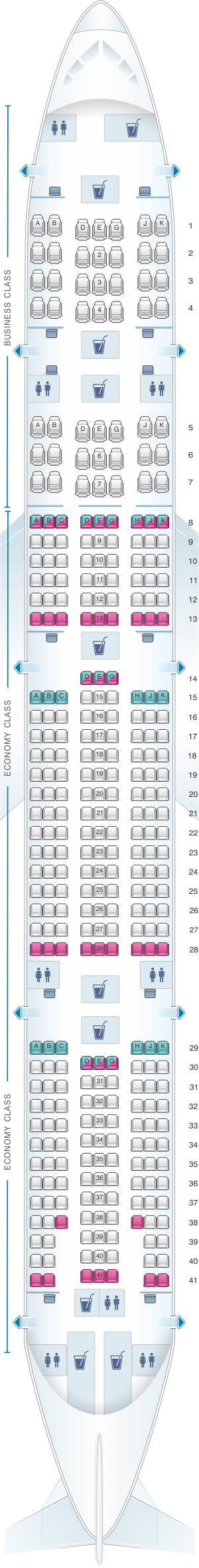 Seat map for Turkish Airlines Boeing B777 300ER