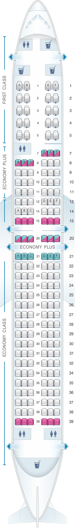 Seat map for United Airlines Boeing B737 900 - version 3