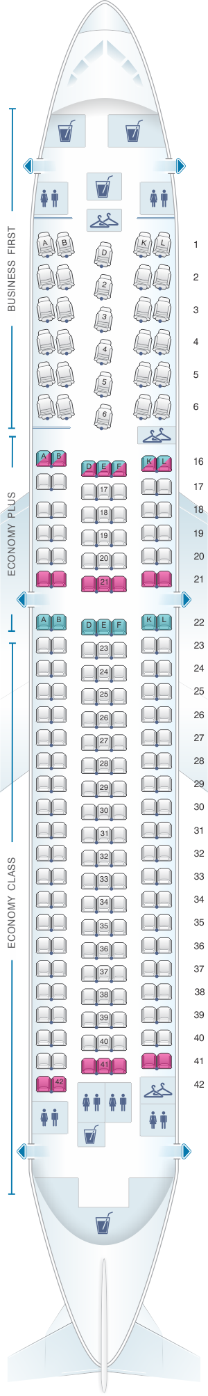 Seat map for United Airlines Boeing B767 300ER - version 2