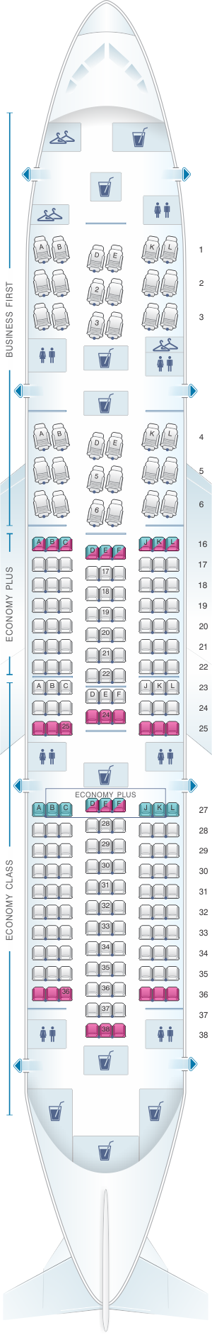 Seat map for United Airlines Boeing B787-8 Dreamliner