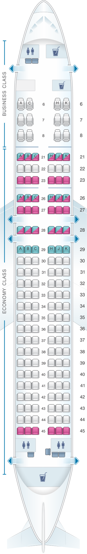 Seat map for Royal Brunei Airlines Airbus A320 Neo