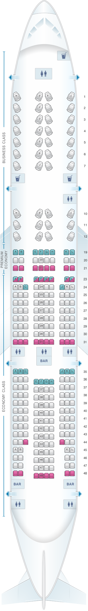 Seat map for Air France Boeing B777 200 International Long-Haul 280pax
