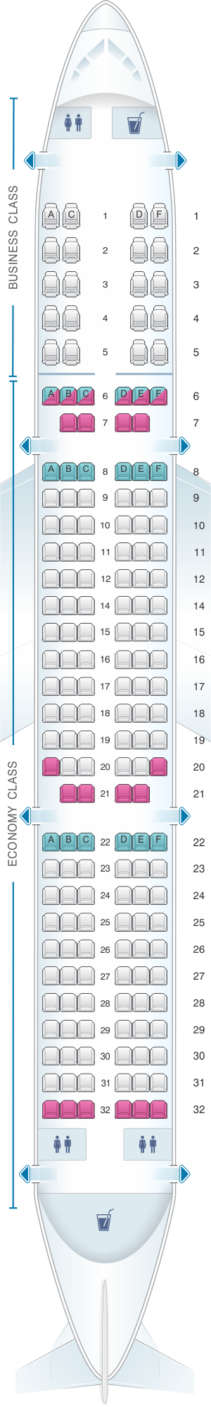 Seat map for Air India Airbus A321