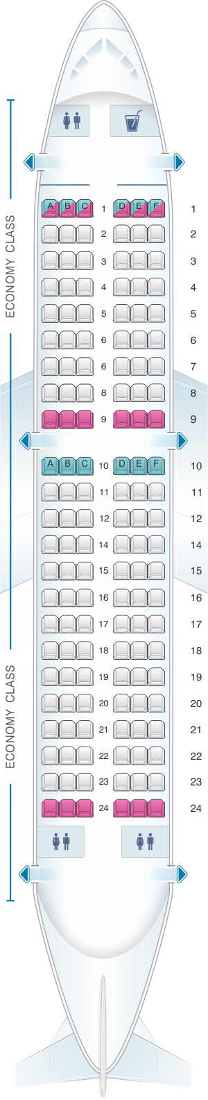 Seat map for Air Moldova Airbus A319
