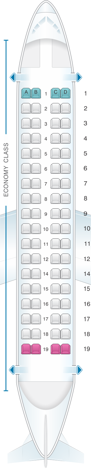 Seat map for Airlines PNG ATR 72 600