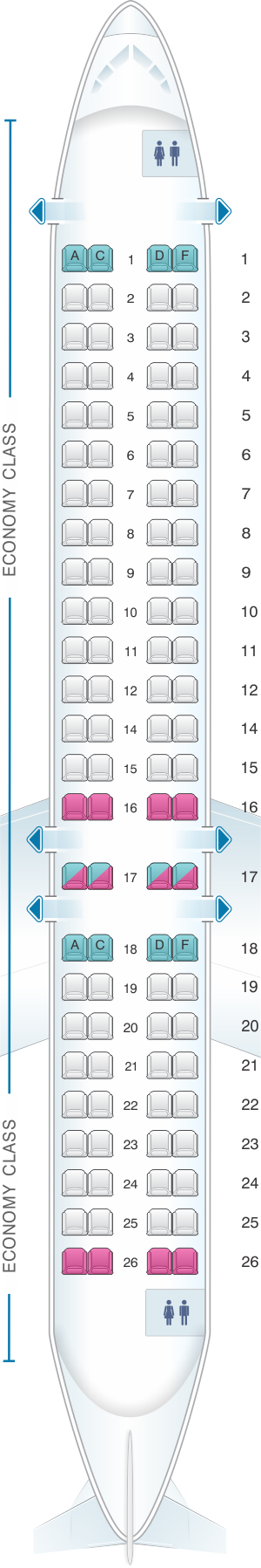 Seat map for HOP! CRJ 1000