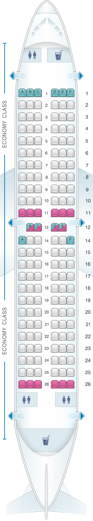 Seat map for Jet2 Boeing B737-300