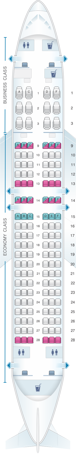 Seat map for Qatar Airways Airbus A320 200 132pax