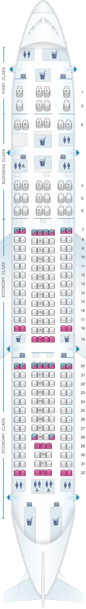 Seat map for Qatar Airways Airbus A330 200 232pax