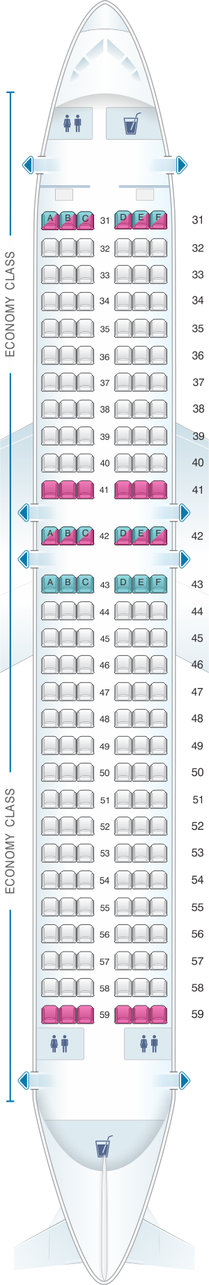 Seat map for Thai Airways International Airbus A320 200 (320)