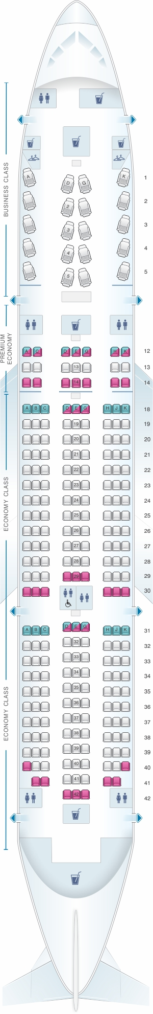 Seat map for Air Canada Boeing B787-8 (788) International