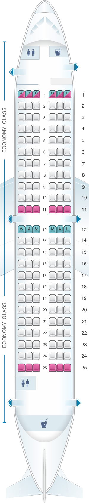 Seat map for airBaltic Boeing B737 300