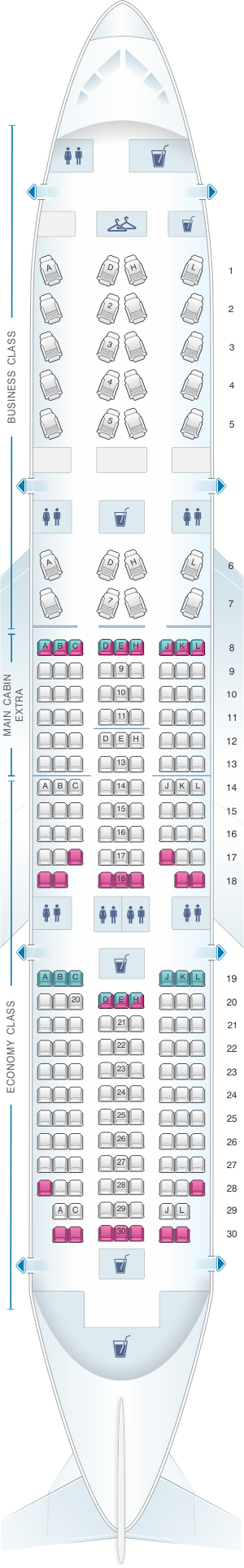 Seat map for American Airlines Boeing B787 8