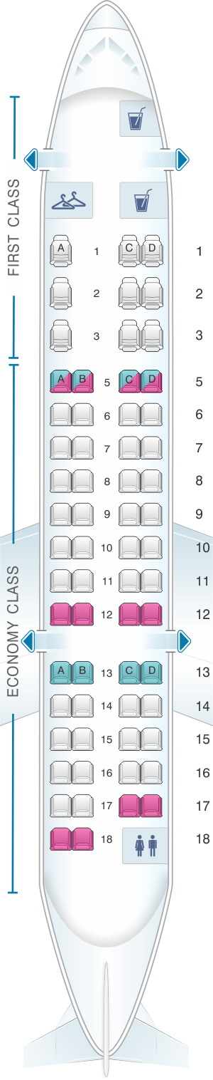 Seat map for American Airlines CRJ 700 V1
