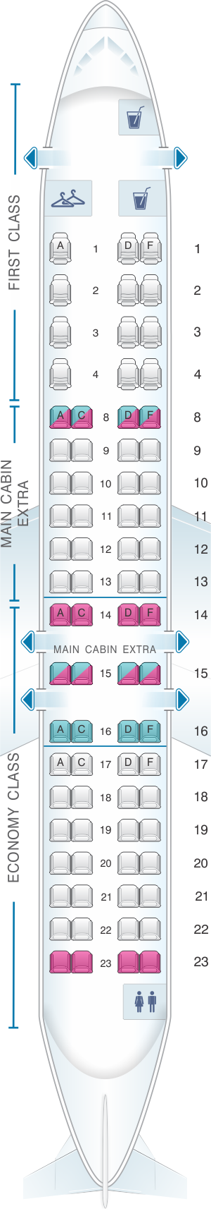 Seat map for American Airlines CRJ 900 V1