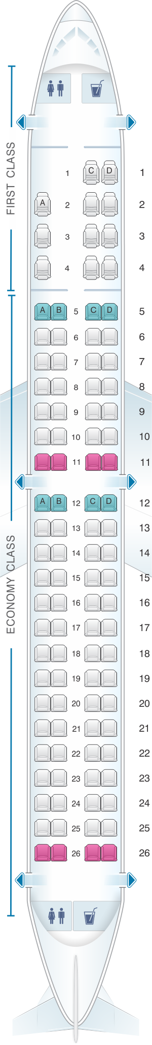 Seat map for American Airlines Embraer ERJ 190