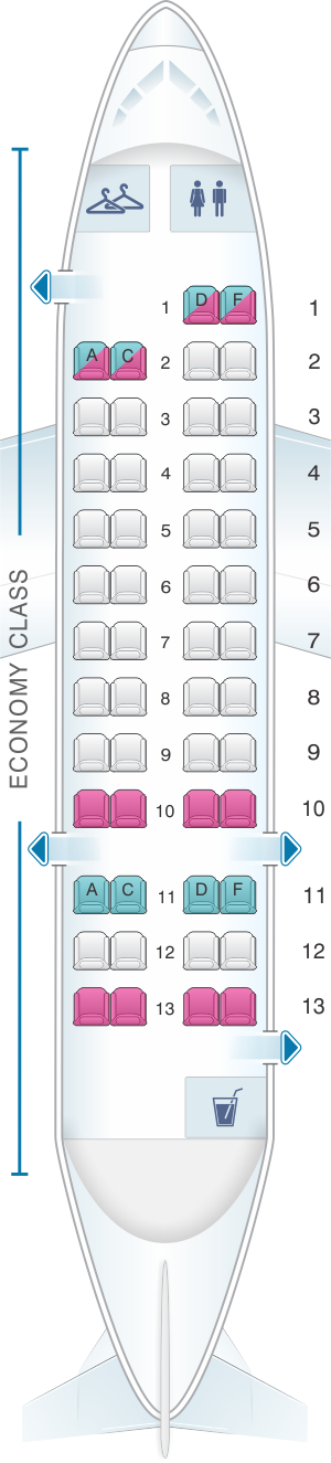 Seat map for American Airlines Dash 8 300