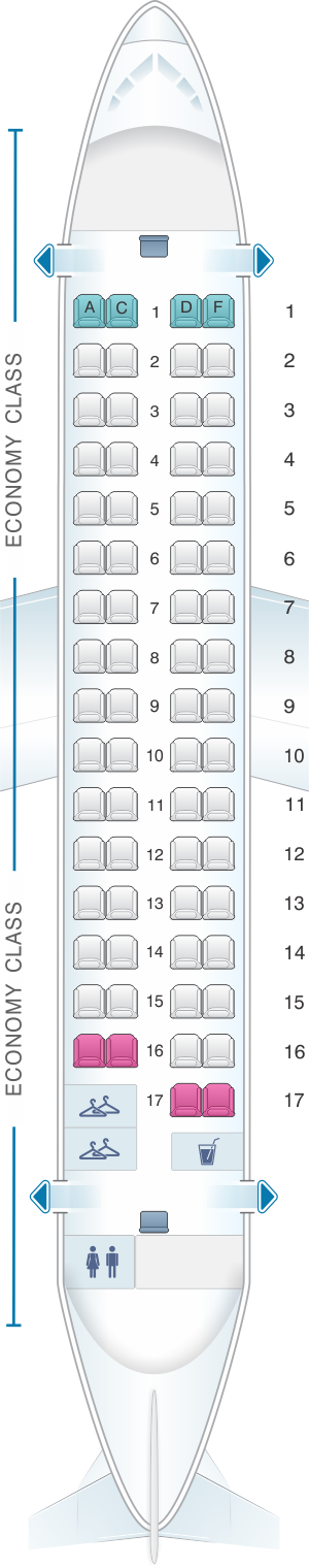 Seat map for Air Serbia ATR 72-200
