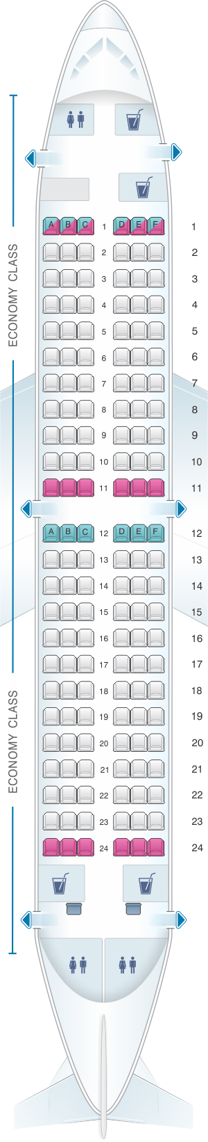 Seat map for Air Serbia Boeing B737 300