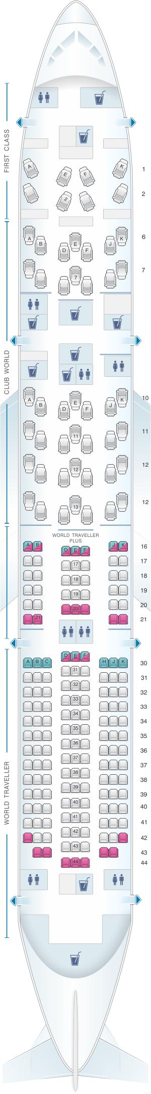 Seat map for British Airways Boeing B787 9