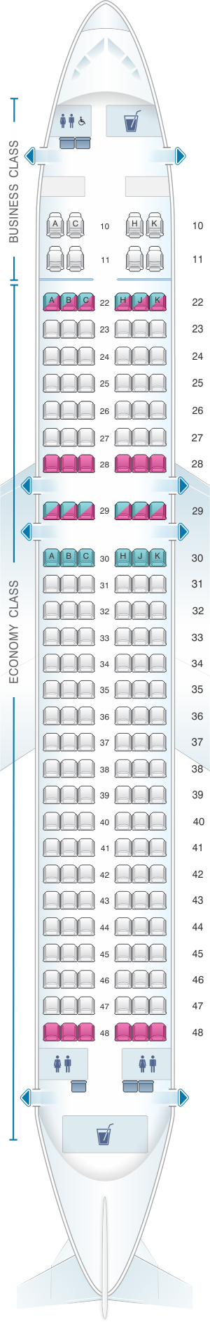 Seat map for Cathay Dragon Airbus A320 200