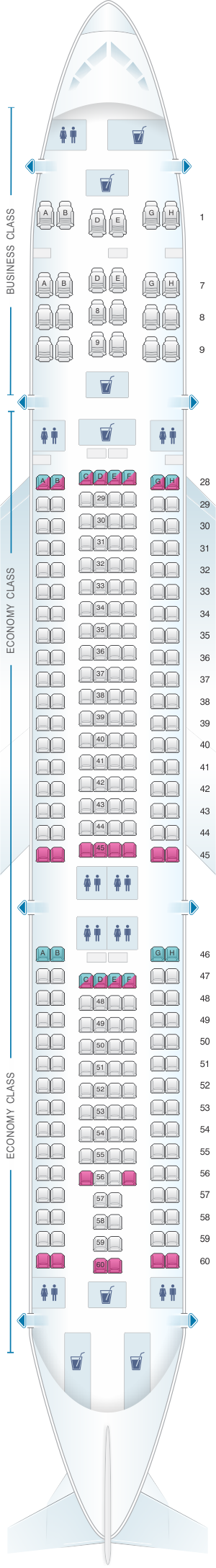 Seat map for Csa Czech Airlines Airbus A330 300