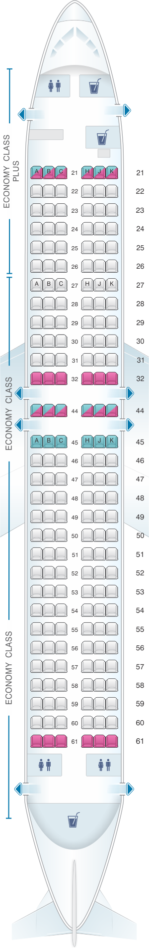 Seat map for El Al Israel Airlines Boeing B737 800 180pax