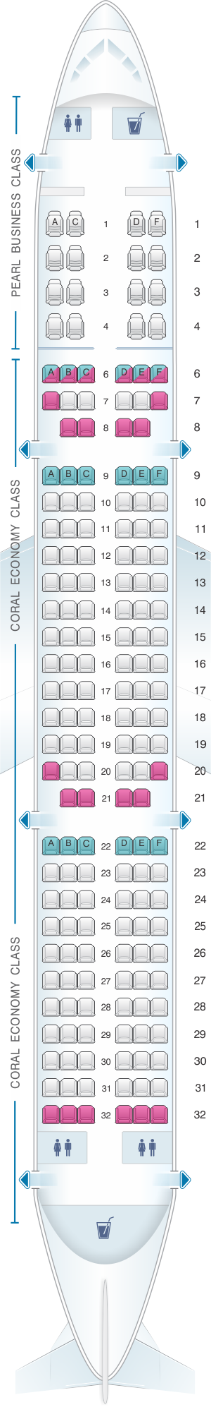 Seat map for Etihad Airways Airbus A321 200