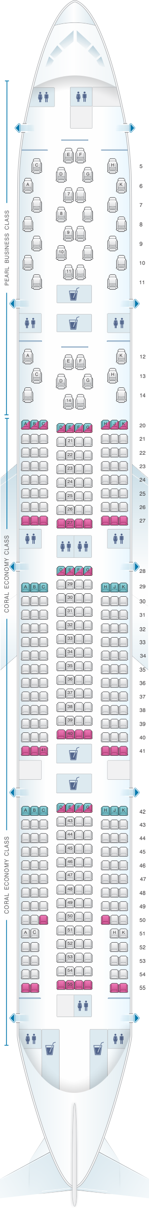 Seat map for Etihad Airways Boeing B777 300ER 2 class V2