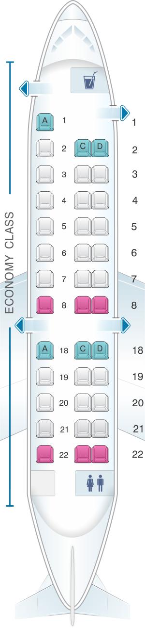Seat map for ExpressJet Airlines Embraer ERJ135 v2